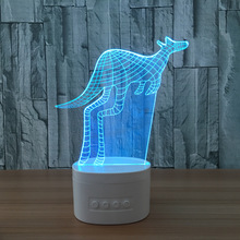 Kangaroo 3d Speaker Night Lamp Indoor Bluetooth Speaker Usb Music Standing Lamp Bedside Lampara With Color Changeable Gift(China)