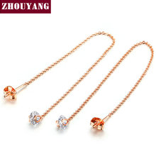 Top Quality Cubic Zirconia Rose Gold Color Line Earrings Jewelry Austrian Crystal Wholesale ZYE549 ZYE100