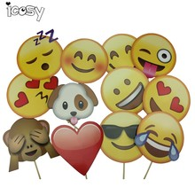 Emoji Face Photo Booth Props Party Decorations Photobooth Kits Camera Accessories Funny Party Supplies 12Pcs/Set Drop Shipping(China)