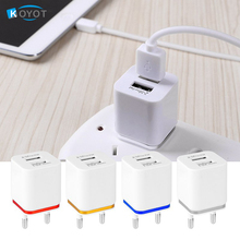 4PCS/Lot 5V 2.1A 1.0A Home Travel Dual Port AC USB Wall Charger US EU Plug for iPhones for Sony HTC smart phones free shipping(China)