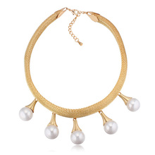 New Pearl Charm Necklace Pendant Famous Brand Accessories Women Chokers Jewelry Snake Chain Collar White K Plated Iron 2 Colors