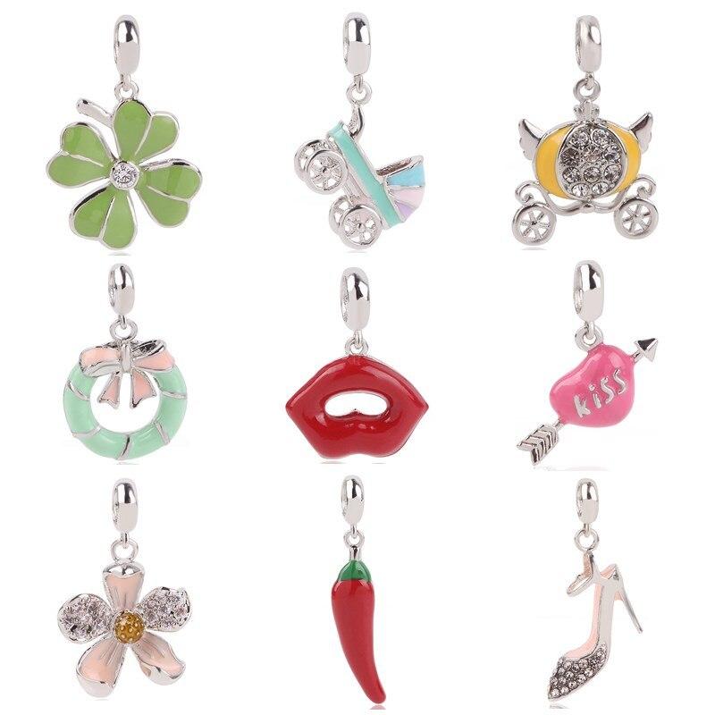 Femmes Perle Coeur Argent Talons Hauts Chaussures Pendentif Cristal Bracelets