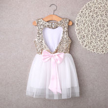 Sequins Children Baby Girls Dresses Clothing Party Gown Mini Ball Formal Love Pattrern Backless Bow Party Gown Dress Girl 3-10Y