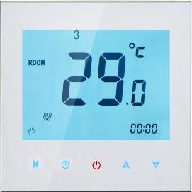 24VAC Touchscreen Colourful Programmable Modbus Thermostat for 4 Pipe Fan Coil (with Modbus RS485 Function)<br>