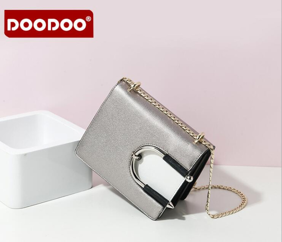 DOODOO brand casual small leather flap handbags ladies party purse fashion lady style chain shoulder bag FR495<br>
