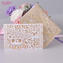 10sets Laser Cut Wedding invitations Card Wedding Gifts For Guests Pearl Paper Invitation Card Party Favors Wedding Favors(China)