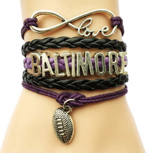 Drop Shipping Infinity Love Baltimore Ravens NFL Football City Team Name Bracelet- Handwork Leather Rope Multilayer