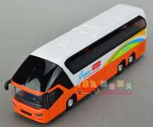 Gift for boy 19cm cool airport shuttle bus luxury tourist bus car alloy model acousto-optic pull back children game toy