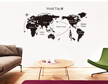 80x140 travel world map wall stickers living room bedroom office wall stickers art decoration stickers poster QL-043(China)