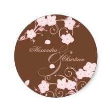 3.8cm Pink Blossom Wedding Save The Date Announcement Classic Round Sticker