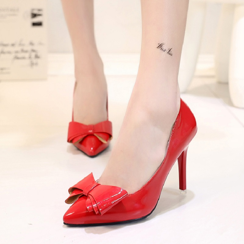 Spring and autumn new fashionable high-heeled shoes with sexy sexy women comfortable shoes, bow red wedding shoes free shipping<br><br>Aliexpress