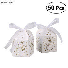 50pcs Hollow Out Fashion Snowman Pattern Paper Gift Box Asamento Caixa Corte A Laser Candy Boxes Gift Bags Christmas Decor(China)