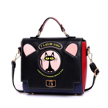 Cartoon Cat Printing Bag Candy Color Ladies Shopper Bags Women Shoulder Bags For School Girls Cute Messenger Bag Girls Kids Tote(China)