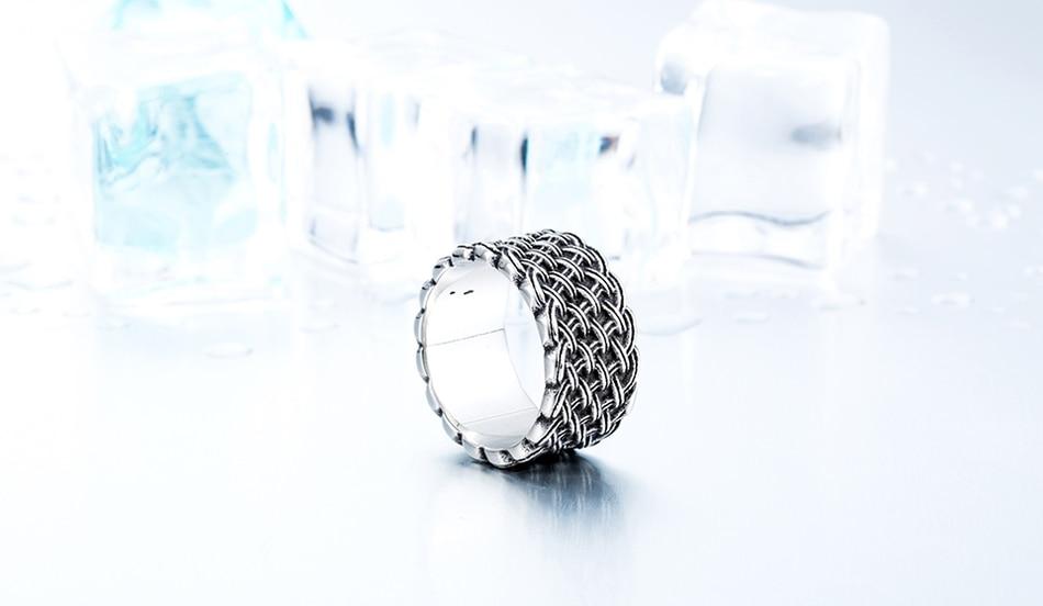 แหวนโคตรเท่ห์ Code 037 แหวนแนวโกธิคลายถักไวกิ้ง เท่ห์ดุแบบเรียบๆ สแตนเลส12