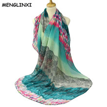 MENGLINXI 2017 Fashion bandana Luxury Scarve Gradient Color Paisley Peacock Spreads Tail Print Silk Scarf Women Foulard Scarves(China)