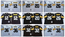 Men's Terry Bradshaw Rocky Bleier LeVeon Bell Franco Harris Jerome Bettis Throwback jersey(China)