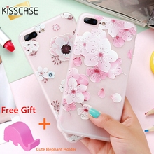 KISSCASE Flower Cases For iPhone 7 Plus Case iPhone 7 Beauty Girly Soft Silicone Back Case For iPhone 6 6s Plus 6 6s Capa Coque(China)