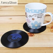 Home Table Cup Mat Creative Decor Coffee Drink Placemat Tableware Spinning Retro Vinyl CD Record Drinks Coasters Random Color
