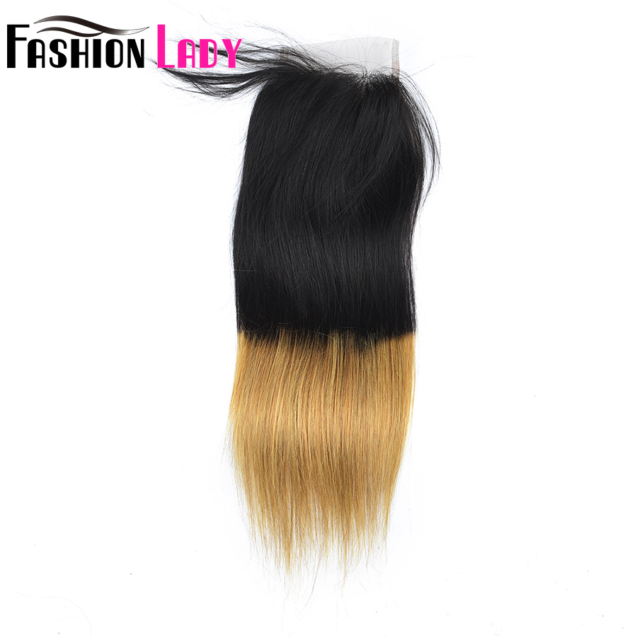 FASHION LADY Pre-Colored Indian Straight Hair Weave Ombre Human Hair T1B/27 3 Bundles With Closure 4×4 Inch Closure Non-Remy