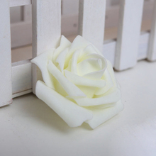 PHFU 100PCS Foam Rose Flower Bud Wedding Party Decorations Artificial Flower Diy Craft Creamy White