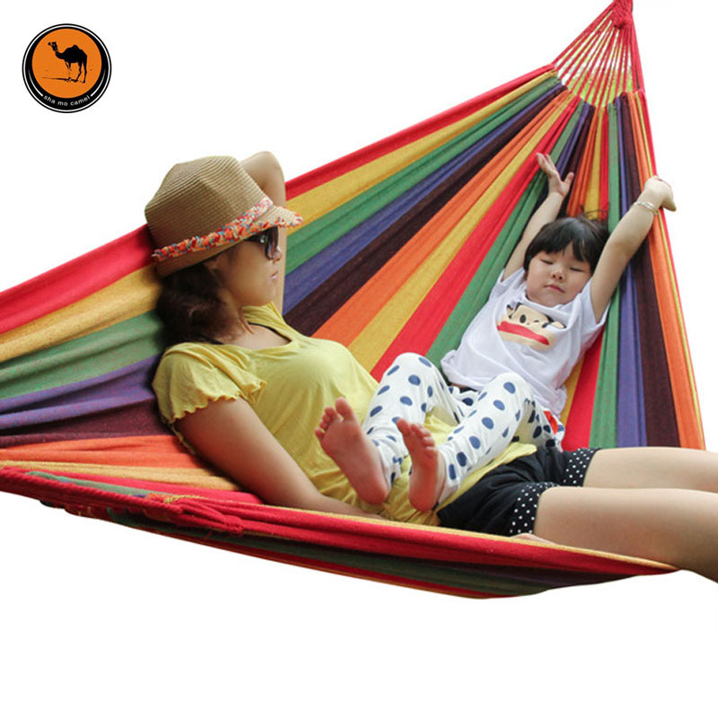 280*150CM High Strength Portable Outdoor Hammock Parachute Fabric Garden Sports Home Travel Camping Swing Canvas Stripe Hang Bed<br>