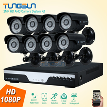 2MP HD 8 Channel 1080P Surveillance Camera Metal black infrared Bullet Waterproof Outdoor 8CH DVR Security Camera System kit