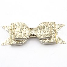 "300pcs/lot 3.8""-4'' Solid Leather Bow Hair Clips Headwear Bowknot Hair Accessories Leather Synthetic Hair Wear Barrettes(China)"