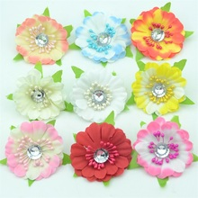 10pcs Silk Fower Cherry Small Poppy Diamond Hearts Wedding Dress Man-made Mini Flores  For Collage DIY Wreath