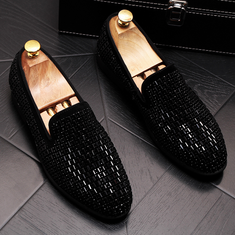 2019 New Gradient Striped Rhinestones Loafers shoes SmokingSlippers Dress Wedding Party Flats Casual Moccasins shoe 51 Online shopping Bangladesh