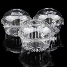 Outdoortips 50 x Single Plastic Clear Cupcake Holder / Cake Container Dome Muffin Carrier