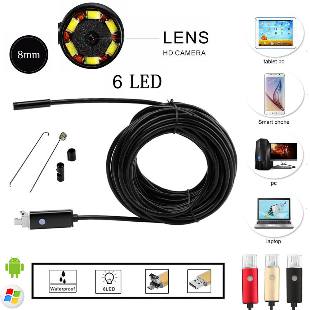 10M Endoscope Android&PC USB Inspection Camera 8.0MM 2.0MP HD 720P Borescope Inspection Video Cam 6 Adjustable LED 70 Degree