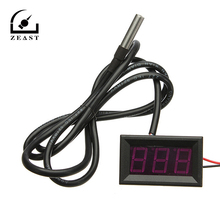 -55-125 Celsius Degrees RED LED Digital Car Thermometer Temperature Meter DS18B20 Sensor(China)