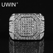 UWIN Men's Stainless Steel Square Ring Bling Bling Rhinestone Crystal Silver Gold Color Punk Rings Fashion Hip Hop Jewelry