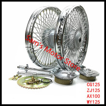 CG125/WY125/ZJ125/AX100 Modified Front Rear 72 Spokes 1.6x18 Motorcycle Wheel Rim With Brake Rotor Disc Hub
