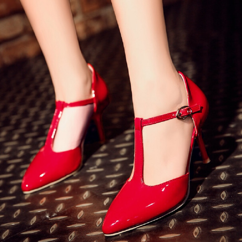 34~45 New 2017 Europe Sexy Stiletto High Heels Women Shoes Hollow T-Strap Pumps Pointed Toe Japanned Leather Wedding Party Shoes<br><br>Aliexpress
