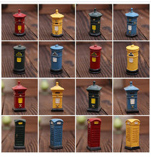 AIBEI-ZAKKA Resin British London Street Mini Telephone Booth Mailbox 4PCS/SET Miniatures for Decoration Photo Props Gifts Crafts