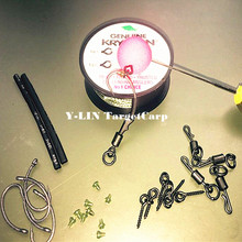 Carp fishing ronnie rig kits Ginpper teflon hooks shrinking tube german rigs hooks stoppers boilies screws quick change swivels