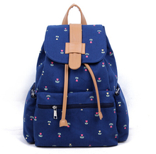 Hot sale women girl school casual travel backpacks shoulder bags blue canvas PU patchwork fashion charming flowers print
