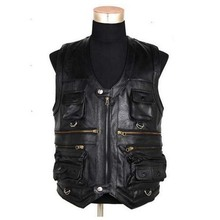 New Men's Waistcoat Genuine Leather Reporters Suit More Than Pocket Quinquagenarian Men Cow Leather Vest Tops Hi-Q