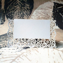 12 pcs/ Lot Chic Pearlescent Lace Name Place Cards Wedding Party Table Decor