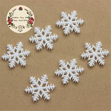20pcs 20mm Kawaii Christmas Snowflake Resin Cabochon Flatback Embellishment Accessories Scrapbooking Crafts(China)