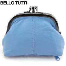 BELLO TUTTI Genuine Leather Mini Coin Purse For Women Wallets Natural Sheepskin Metal Frame Small Change Clutch Zipper Money Bag(China)