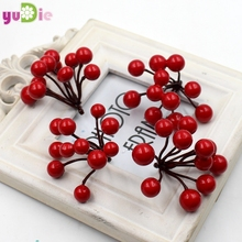 10pcs high quality artificial flowers cherry berries stamens bouquet DIY wreath wedding New year christmas decor fake flowers(China)