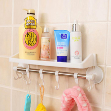 Multifunctional powerful vacuum suction rack plastic shelf for bathroom cup towel and place tool for daily use rail hook storage(China)