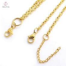 0.8mm wire 3mm width 18''+2'' IP GOLD Stainless steel flat cable rolo chain for floating charm glass locket,no locket C58(China)