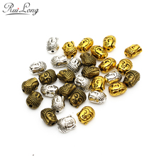 10pcs/lot Fashion Antique bronze Silver gold-color Plated alloy Buddha head Charm Beads jewelry accessories Fit strand bracelets(China)