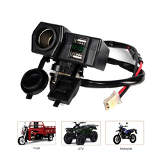 Motorcycles ATV Multi-Function Double USB Charger LED Display Voltage Meter Cigarette Lighter Socket for Iphone Android 12V 24V