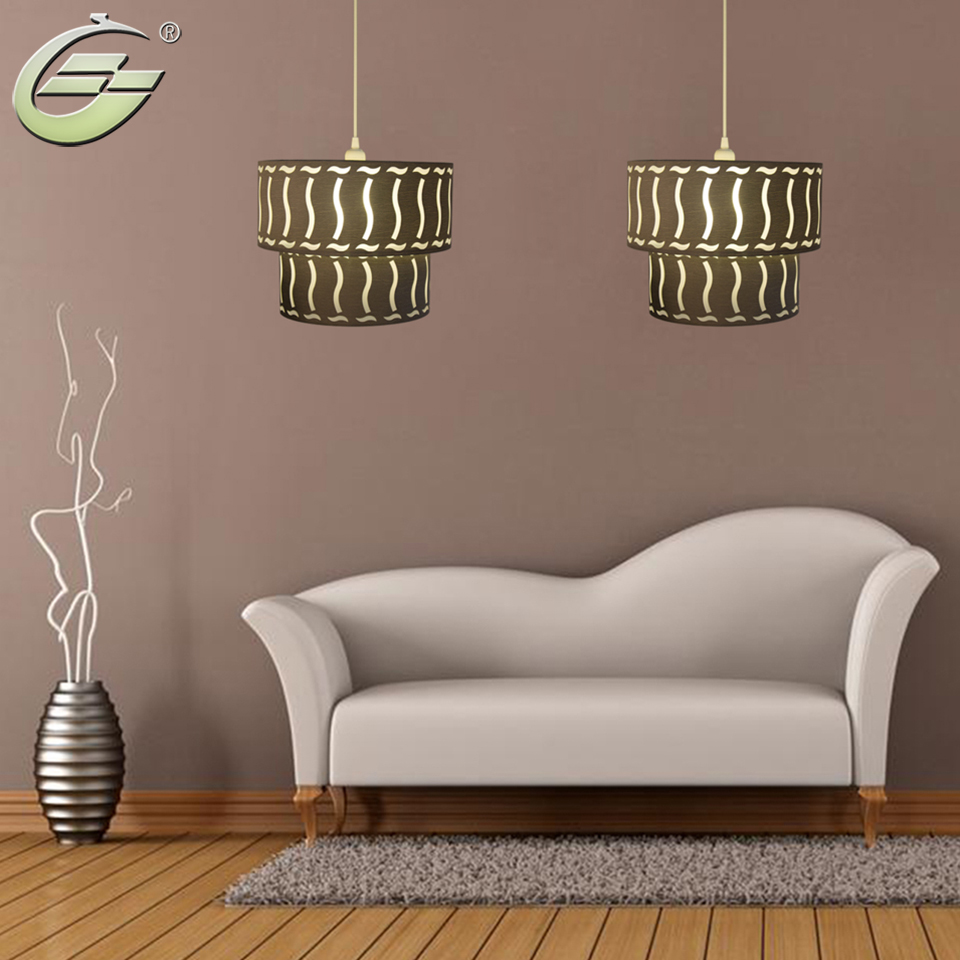 Round Lampshade Pendant Lighting Two-layer Yellow Modern Decoration Lamp Upper and Lower Layers Lamp for Living Room Bar,CL02<br>