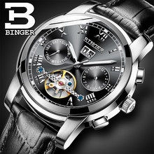 Luxury Geneva Brand binger Mens Mechanical Watch Fashion Leather Automatic Mechanical Wristwatches Russian Orologi Uomo Di Lusso(China)