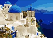 HQ Blue Mediterranean DIY Painting picture By Numbers Wall Art Home Decor Modern New Picture Unique room Decoration Summer Sea
